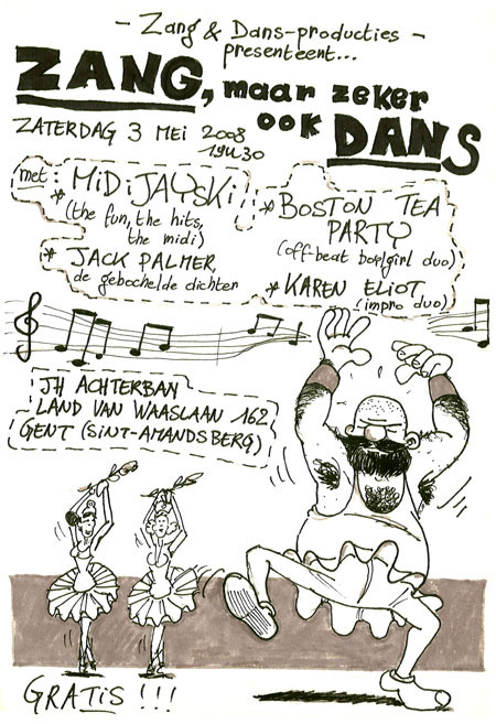 Flyer of Karen Eliot live at Zang en Dans producties JH Achterban 07-03-2008