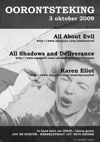 Karen Eliot @ JOC Izegem, 3 oktober '09 (met ASAD + All About Evil)